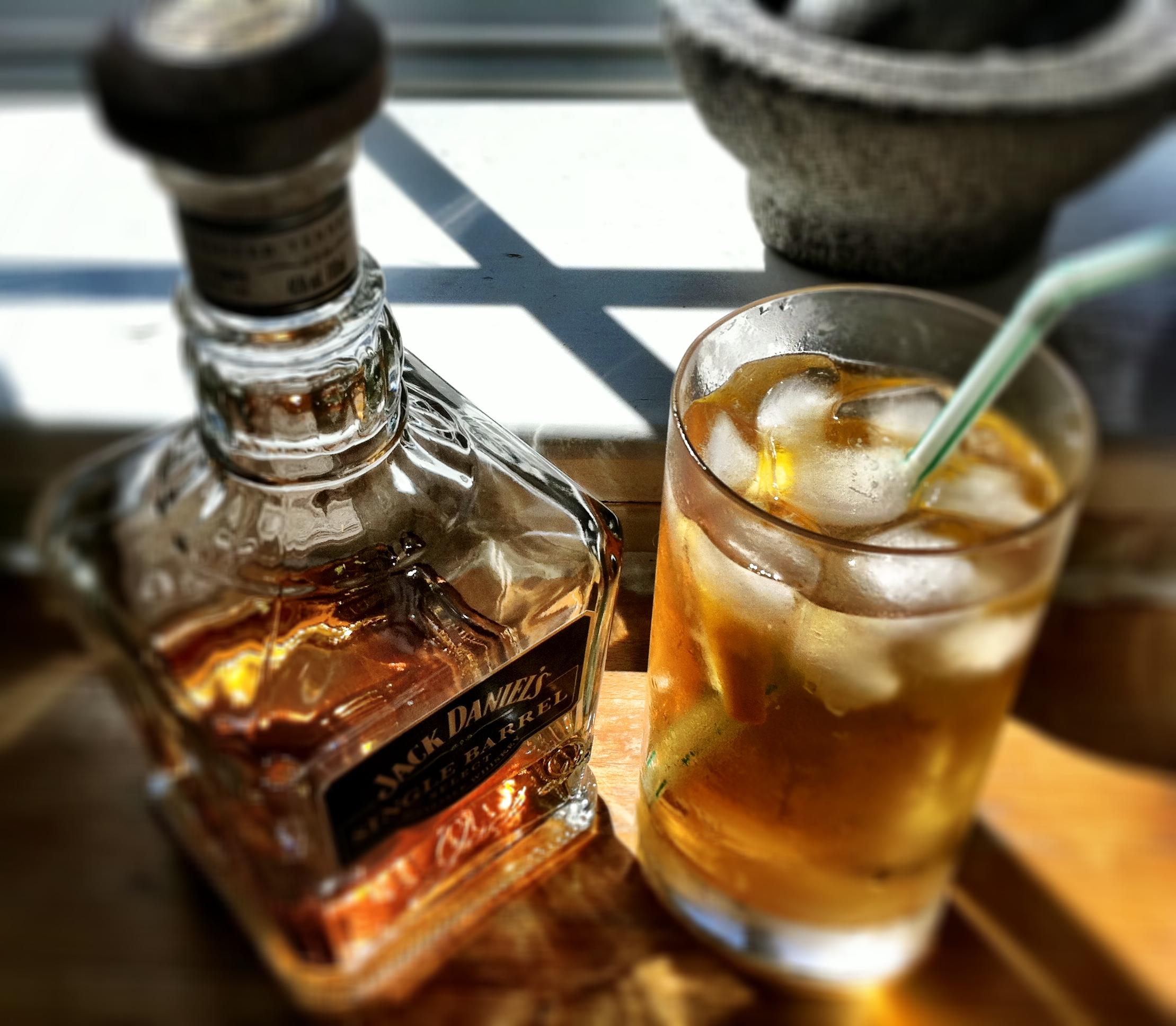 JD, ginger ale, sparkling water, grenadine and lemon juice