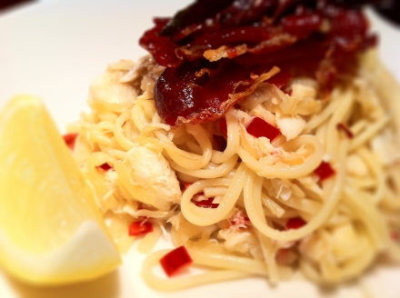 Crab linguine with crispy sage and prosciutto