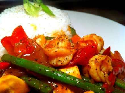 My 30 minute quick and easy, Friday is for fish dish :) Sweet and sour prawns