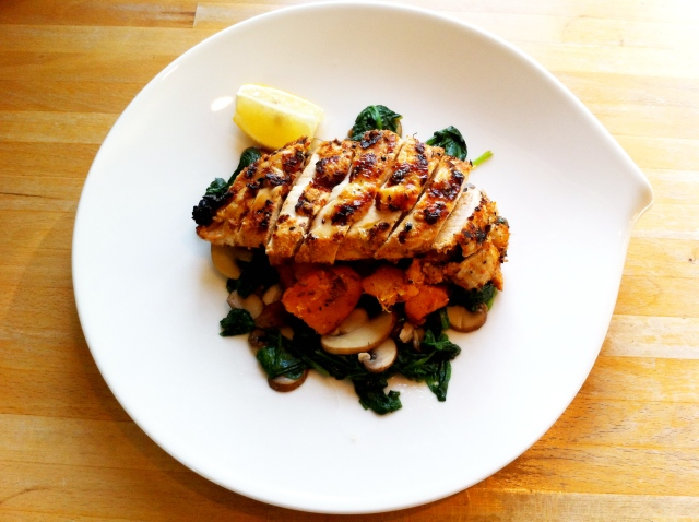 Yoghurt-spiced grilled chicken, cumin-roasted butternut squash and ...