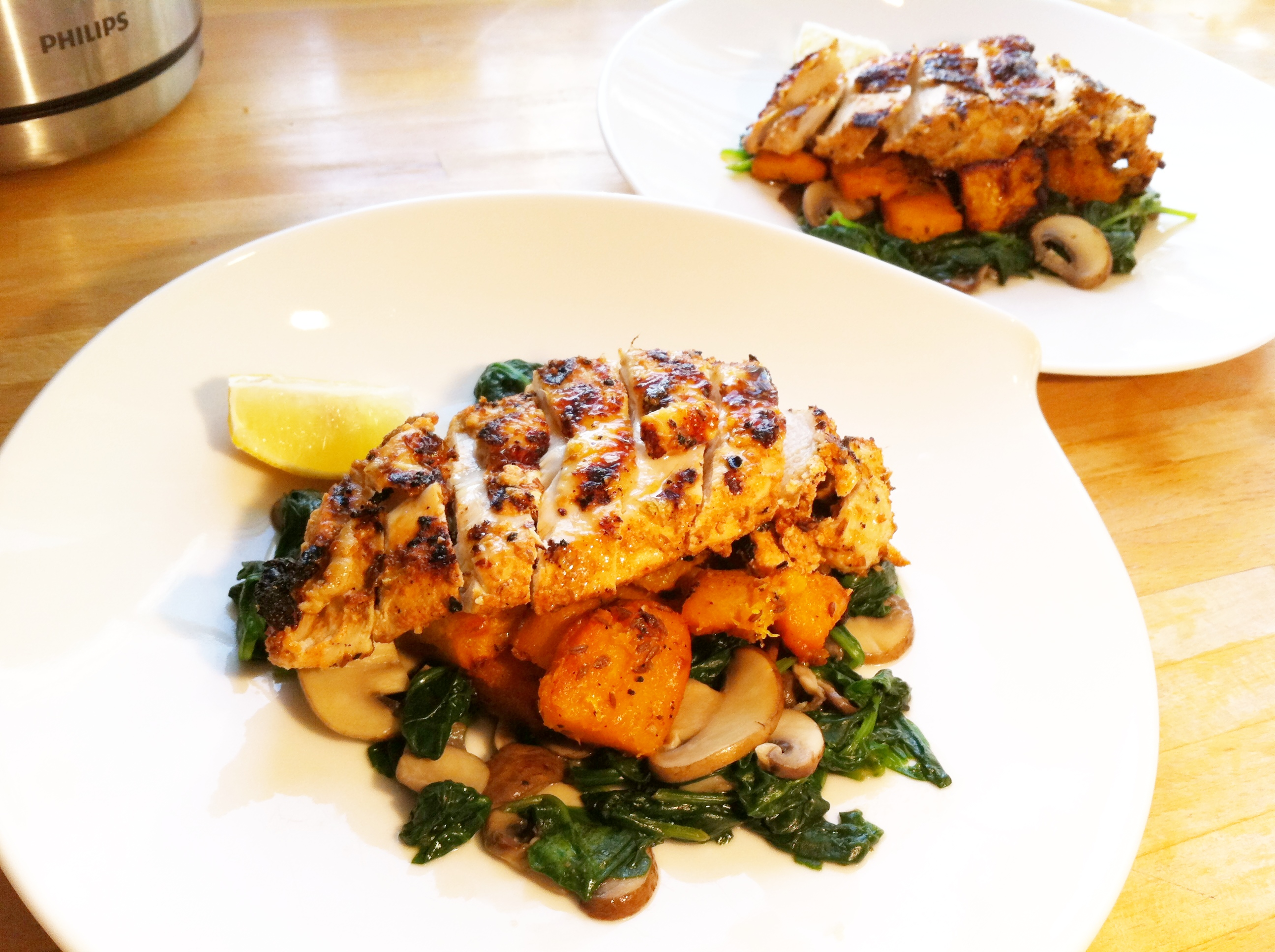 Yoghurt spiced grilled chicken breast on cumin-roasted squash and ...