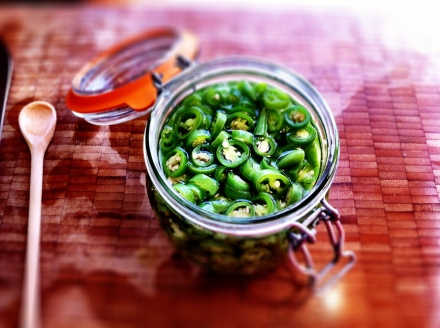 Pickled green chillies, Essential with noodles.