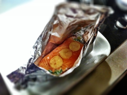 Isabelle's saumon en papillote, with pickled lemons (genius!) creme fraiche and chives all wrapped in smoked salmon