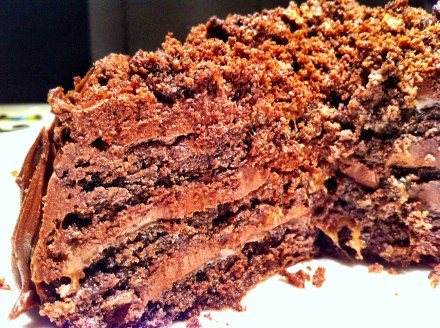 The Hummingbird Bakery's Sweet and Salty Chocolate Cake (with my disaster-cake topping)