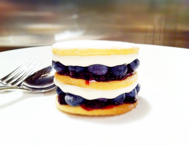 Blueberries, blueberry sauce, lemon cream cheese, lemon butter biscuits - constructed into a little double decker