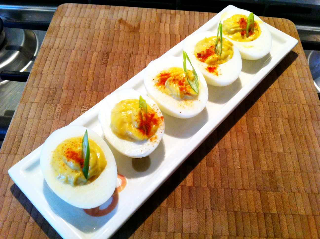 Devilled curried eggs without the salmon egg topping