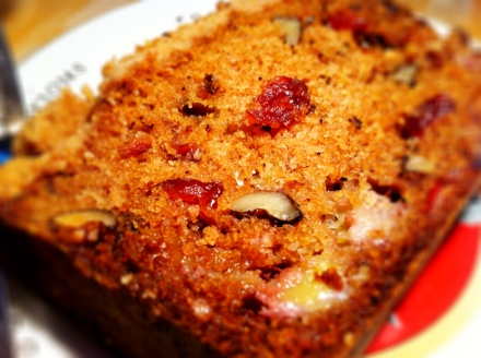 Brandy-infused cranberry, banana and walnut cake with a crunchy crumble top
