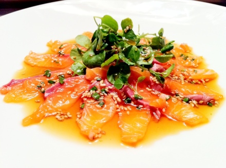 salmon carpaccio in a lime and ponzu flavoured marinade