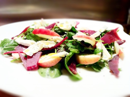 I love putting fruit in my salads and apples always work with cheese, and the cambozola went particularly well with the bresaola.
