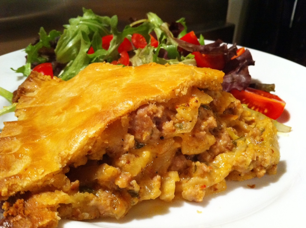 Two into one: Pork and apple in a cheese and onion pie ...