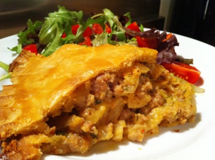 My two in one pie: apple and pork as well as cheese and onion