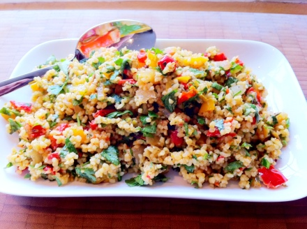 Roasted veg and bulgar wheat with simple herbs and spices