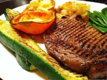 Vegetarians turn away now! Grilled steak with our butternut squash roasted with raclette cheese.