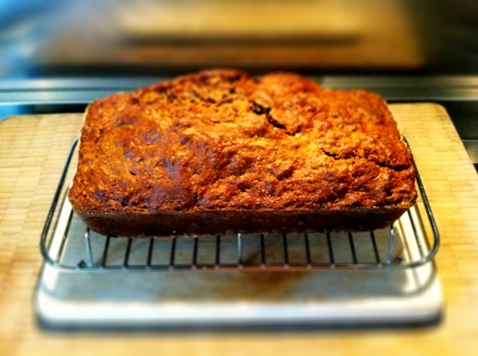 Butter-free banana, apple and walnut bread.