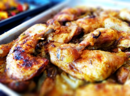 Lemongrass and curry-flavoured chicken, roasted in the oven with fennel, onions, shallots and garlic.