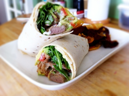 My lamb and avocado wrap, served with a handful of veggie crisps.
